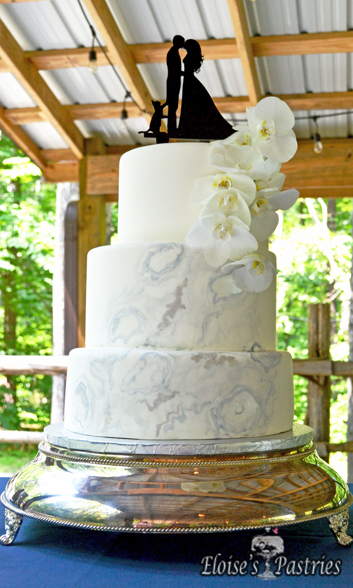 Elegant Geode Cake with Silver Accents