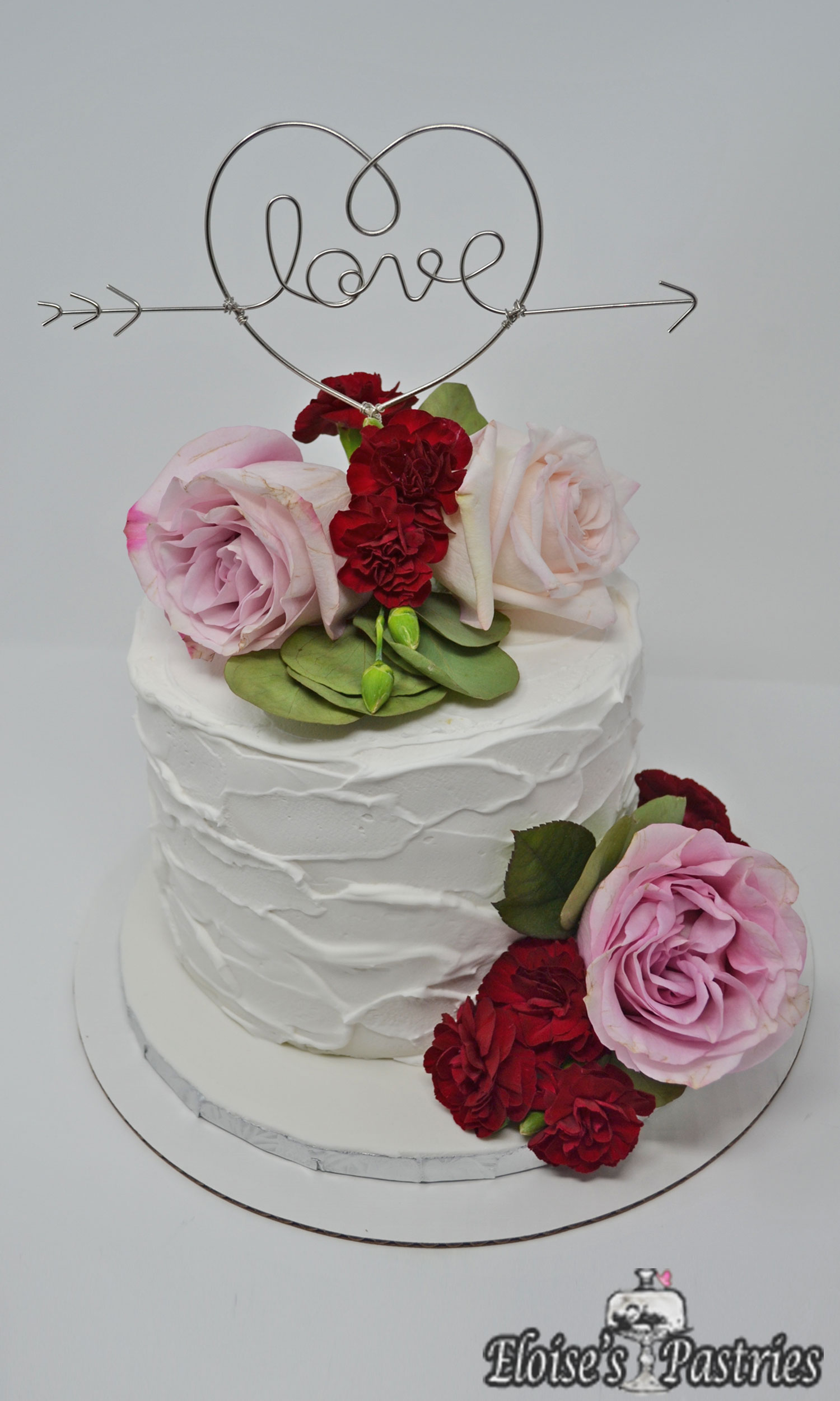 Elopement Cake with Fresh Flowers