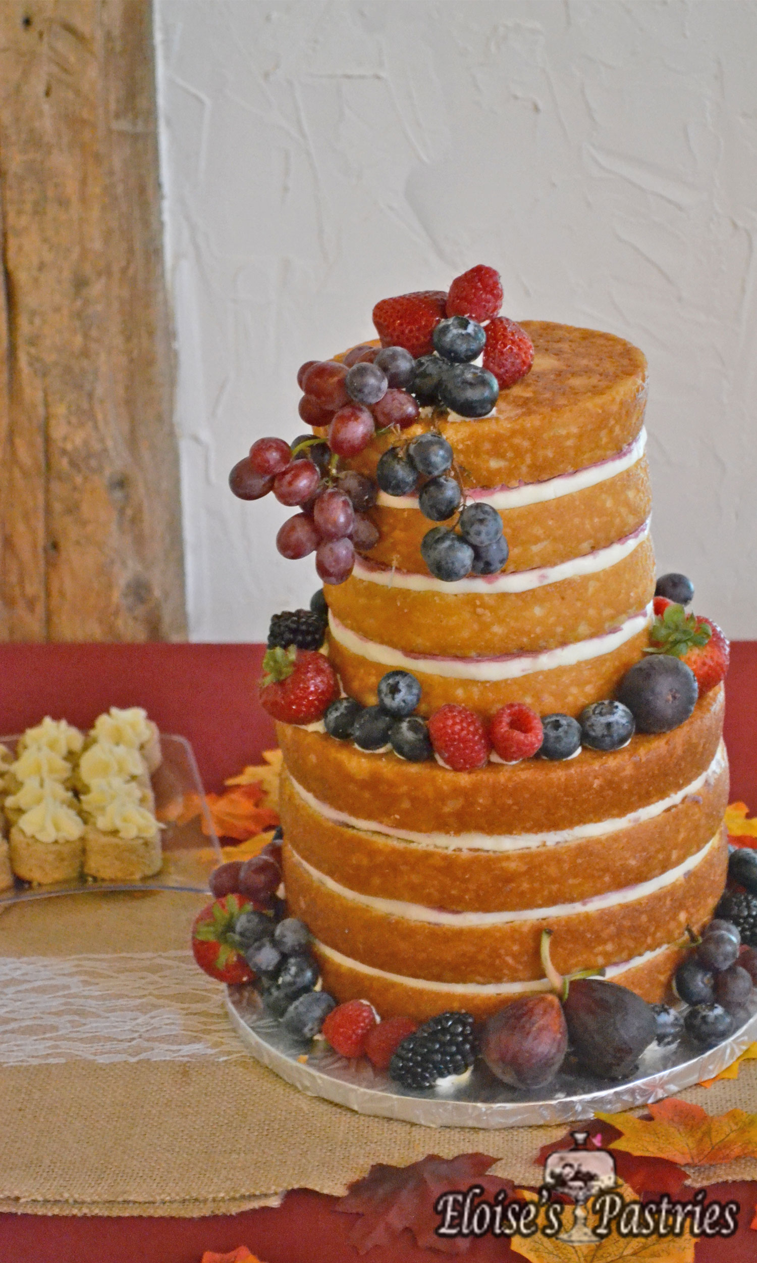 Naked Two Tier Wedding Cake with Fruit