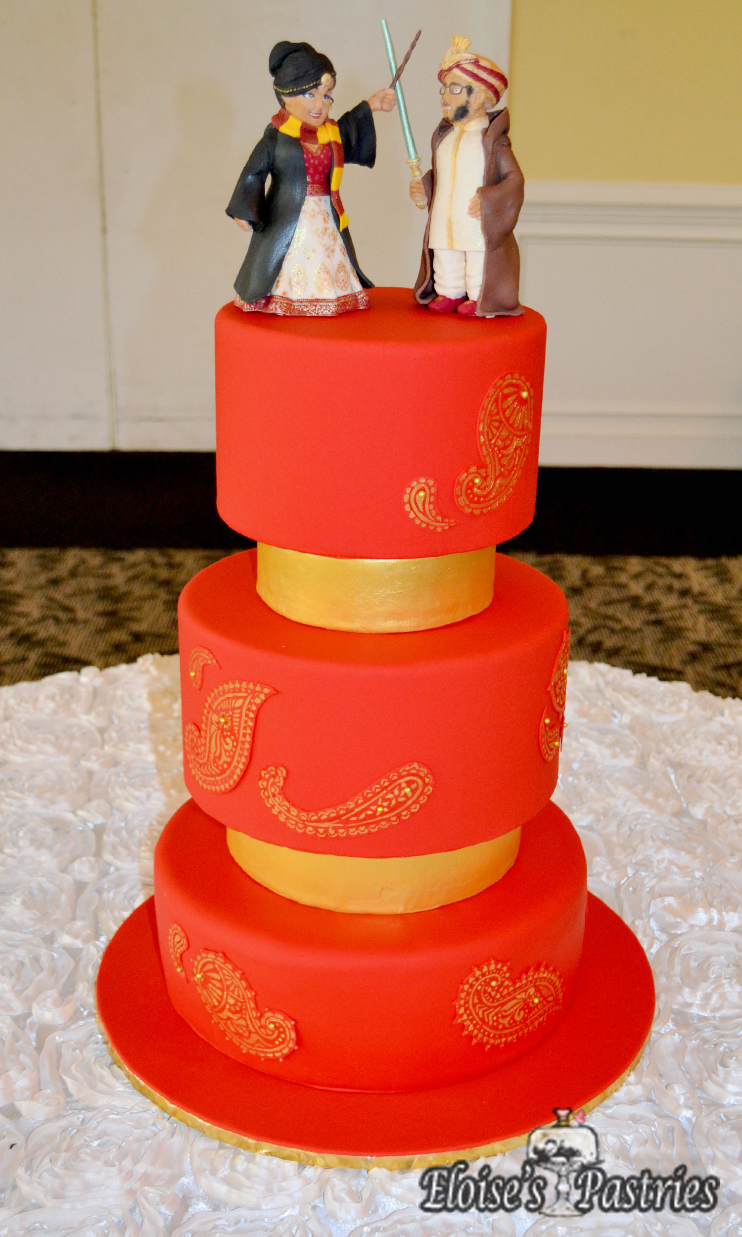 Red and Gold Paisley Wedding Cake