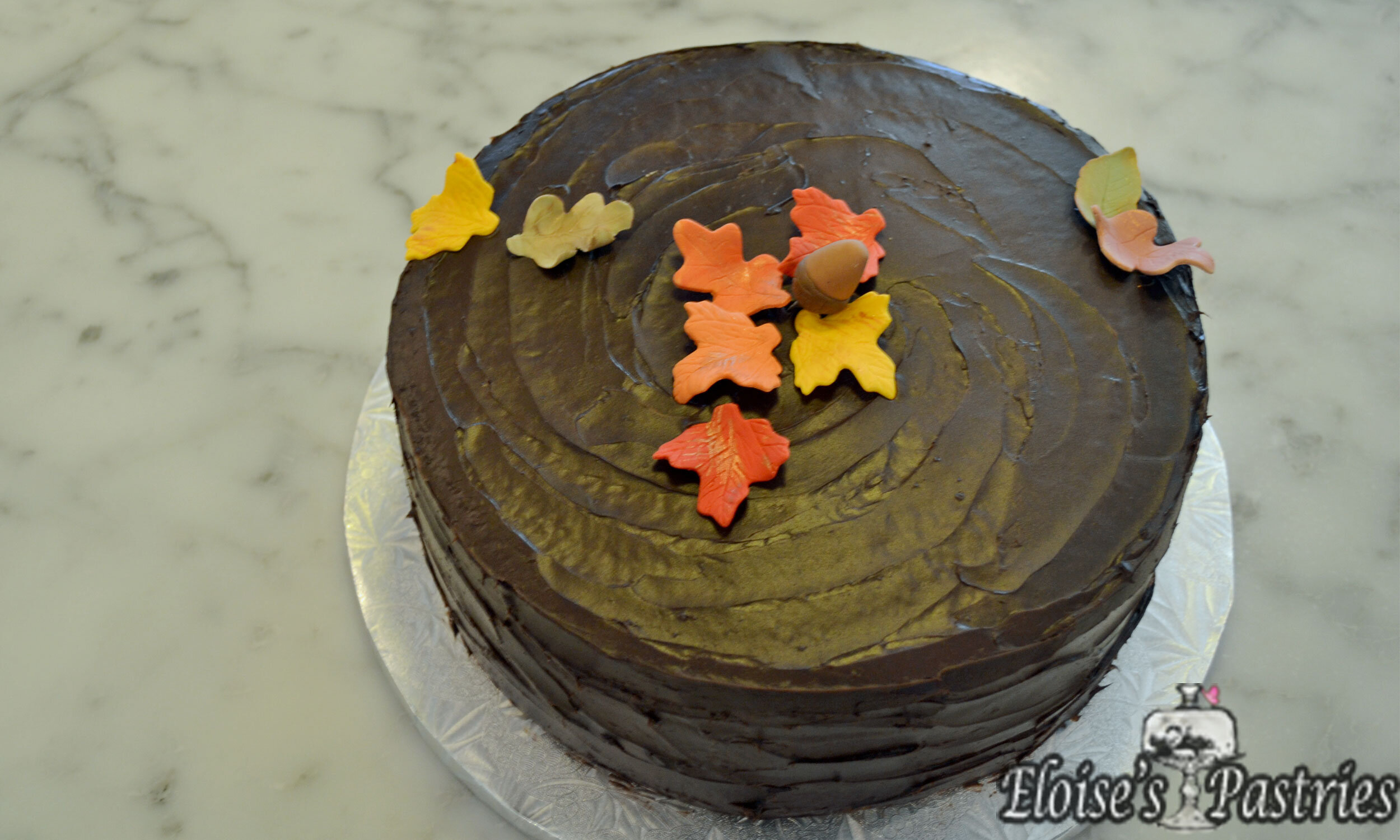 Autumn Cake - Yellow Butter Cake with Maple Mousse Filling, Chocolate Buttercream Exterior