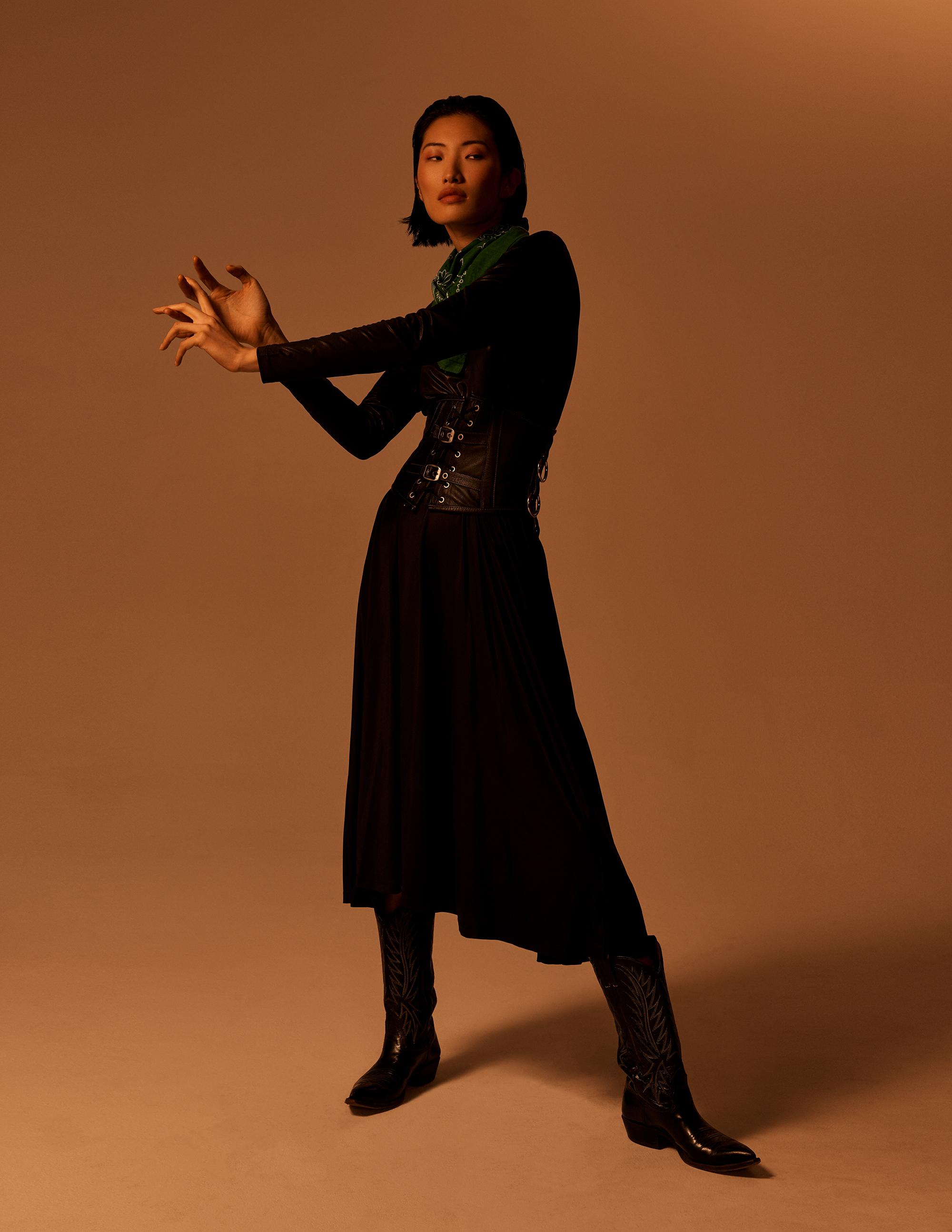 Dress  MM6 . Leather corset belt  Hustler . Bandana Vintage. Boots  Nocona c/o Farnaz Dadash i. Chains  Mara Peralta