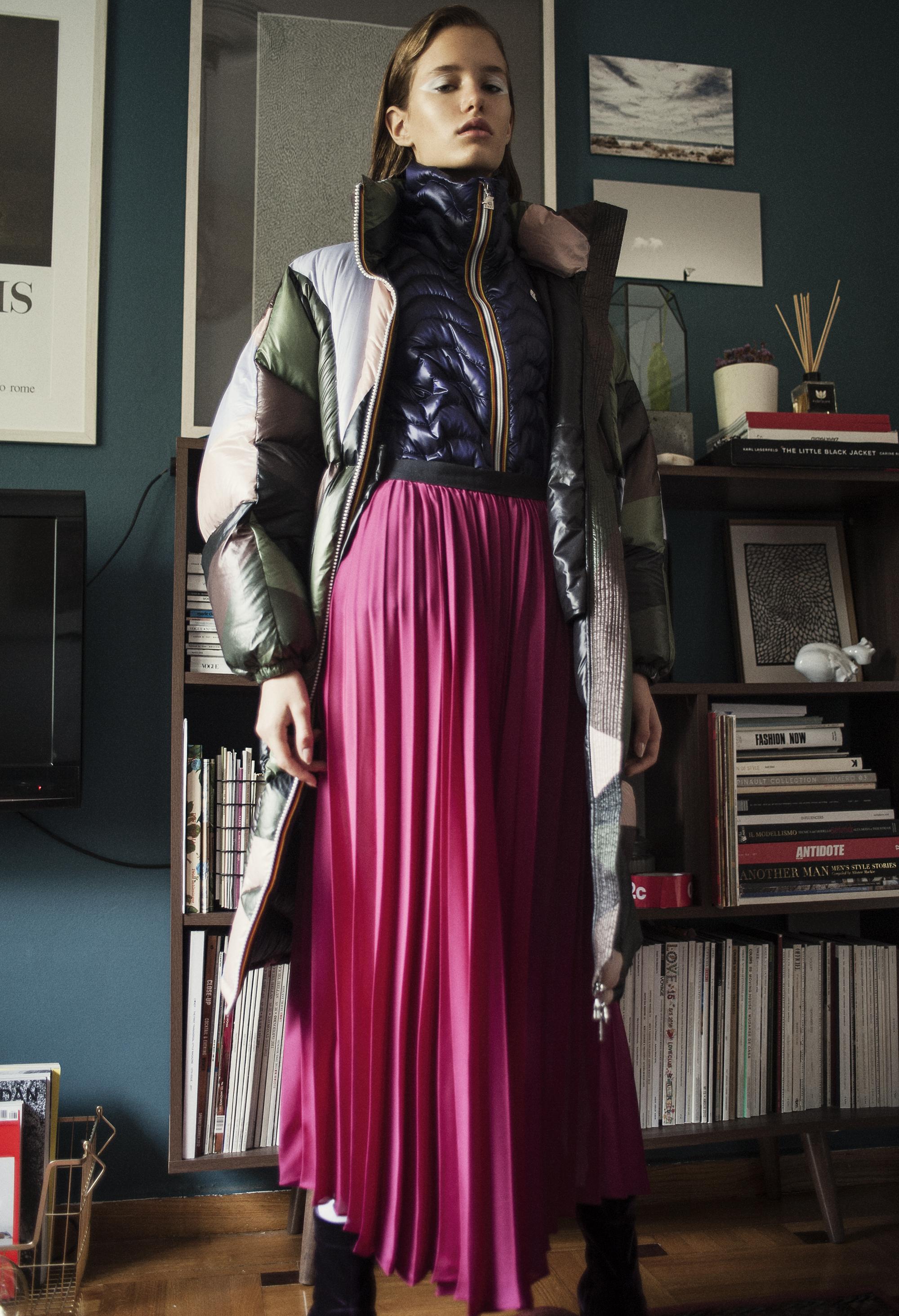 Puffer jacket and   purple jacket  K-way . Metallic pleated skirt  Mr SelfPortrait . Purple velvet shoes  Pedro Garcia