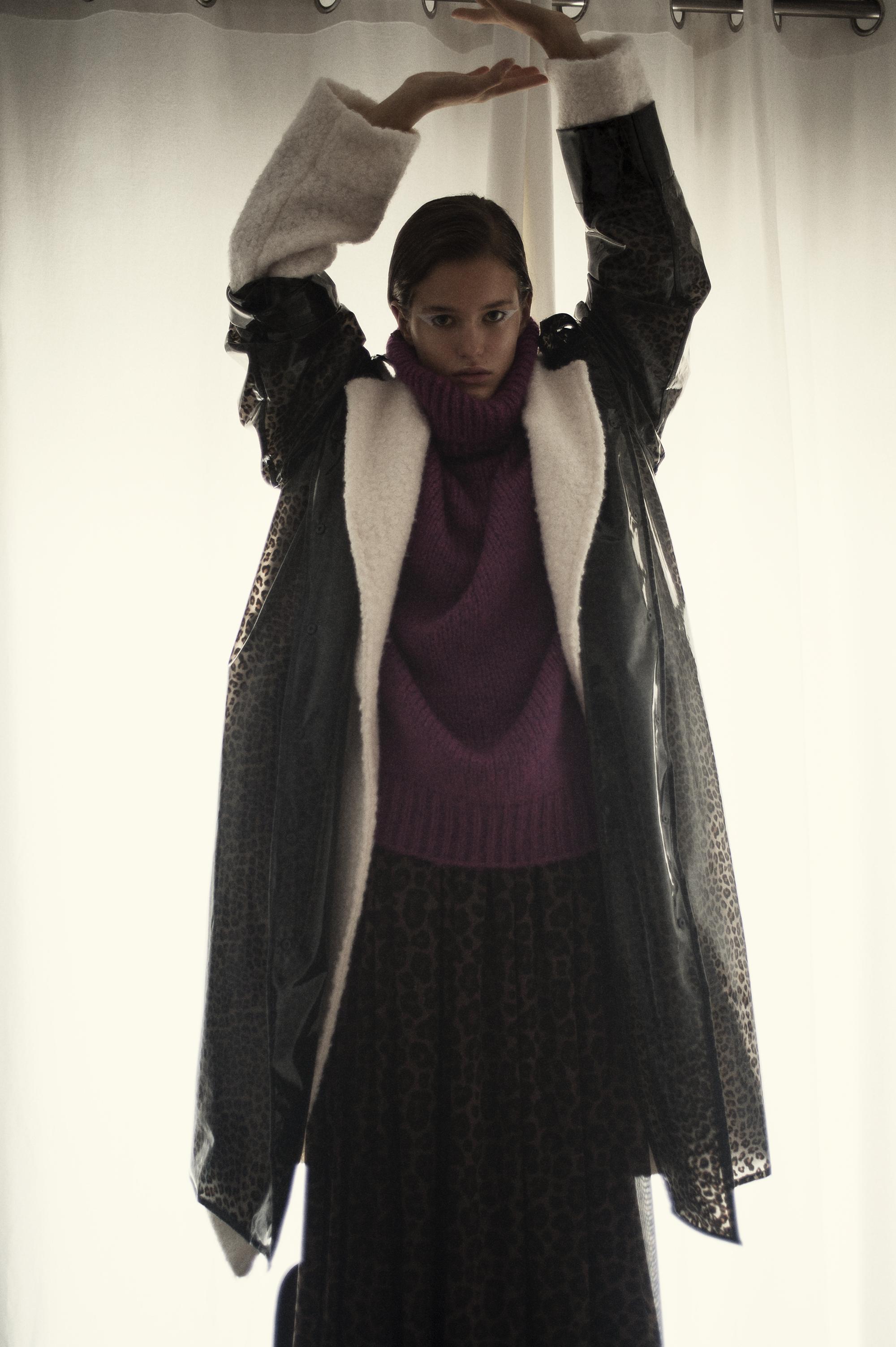 Leopard anorak  Ganni . Sheep skin coat  Acne Studios . Purple jumper  Hugo   Boss.  Leopard dress  Just Cavali    Filippos Hatzis, www.filipposhatzis.co.uk @filipposhatzis. Stylist, Yiorgos Mesimeris @yiorgosmesimeris. Make up, Christos Theophanous @theophanouschris. Hair, Konstantinos Sakkas - @ksakkas. Model, Taya @ACE models ( Elite Worldwide )