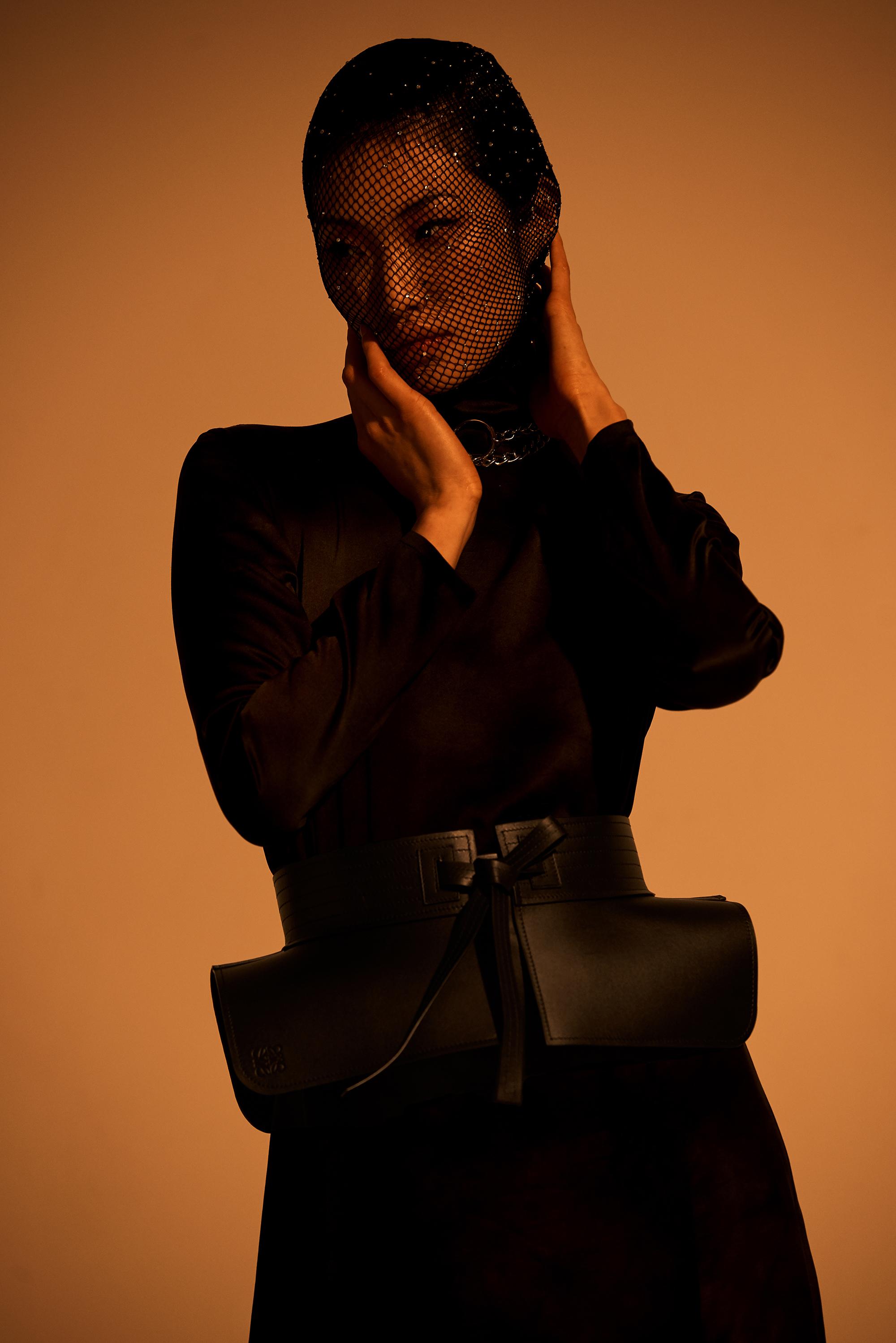 Custom mask by stylist. Dress  Marques Almeida . Belt  Loewe . Boots  Eytys . Necklace stylist own