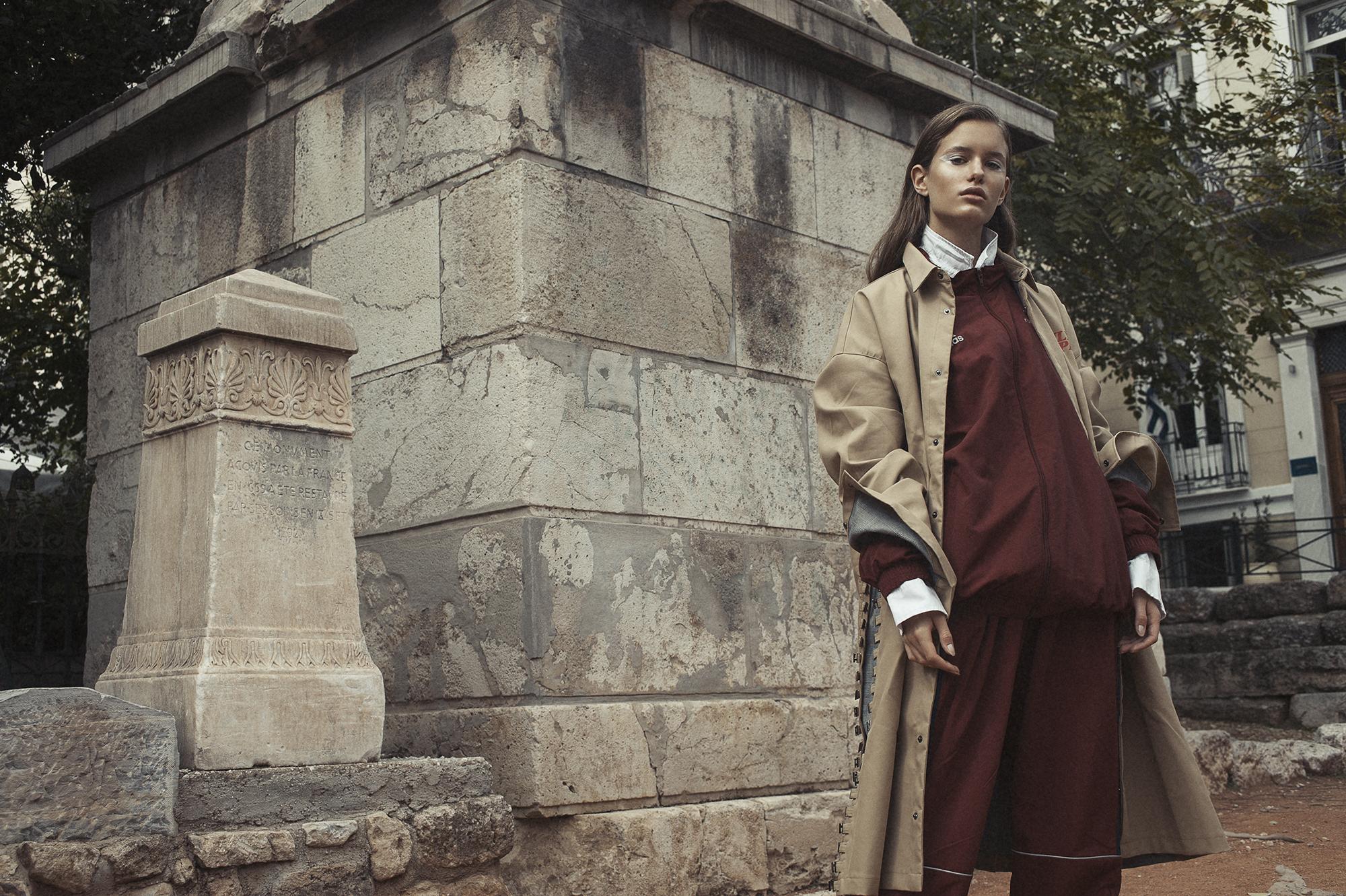 Oversized Coat  Daily Paper . Jacket and Pants by  Gosha Rubchinskiy . White oversized shirt by  Acne Studi