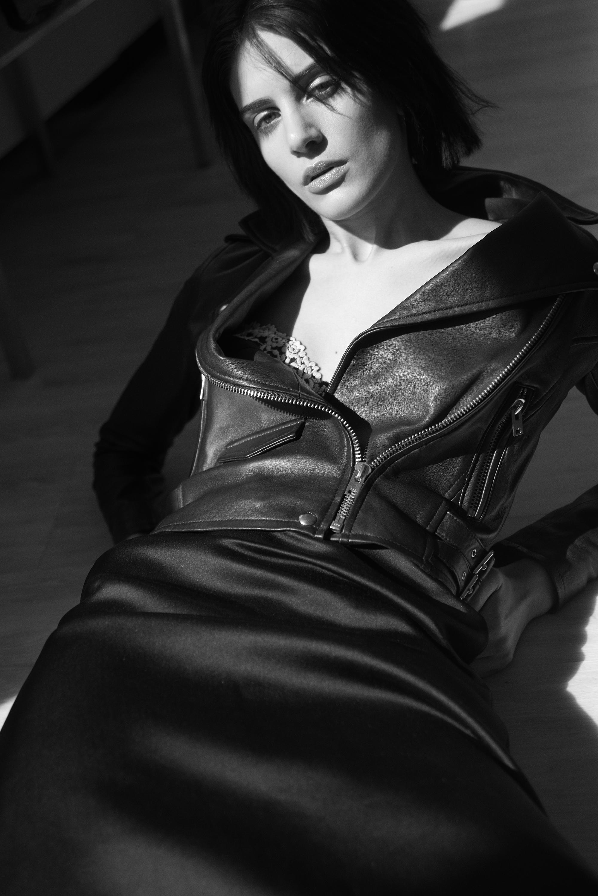 Leather Zipped Jacket  Iro . Vintage silk skirt  Josephus Timister . Lace Bra  La Perla