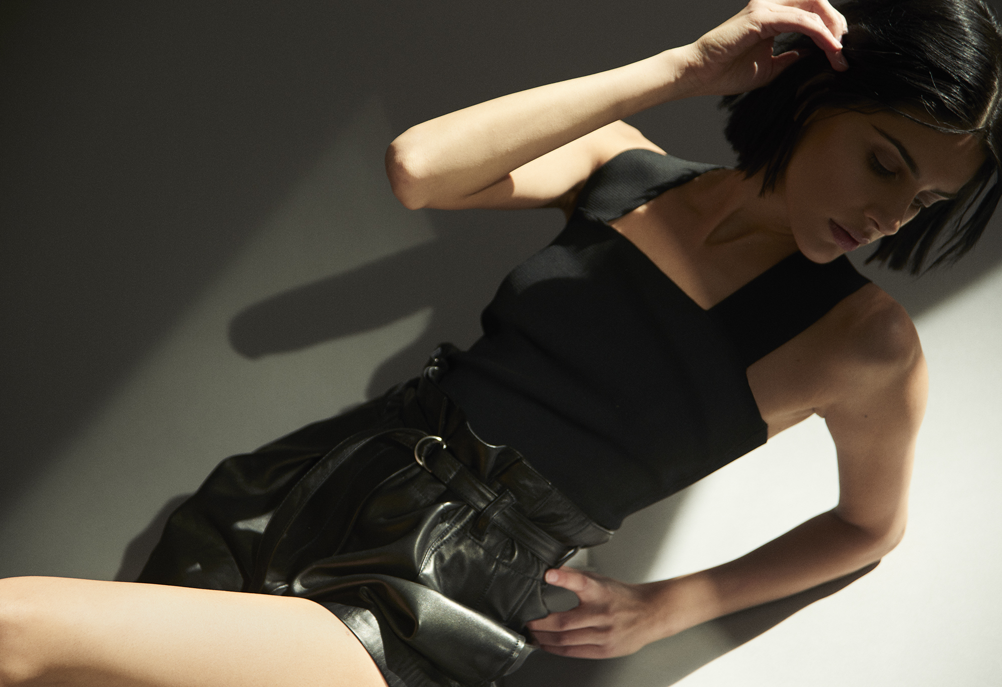 Bandage top  ALC . Belted leather shorts 3.1  Philip Lim
