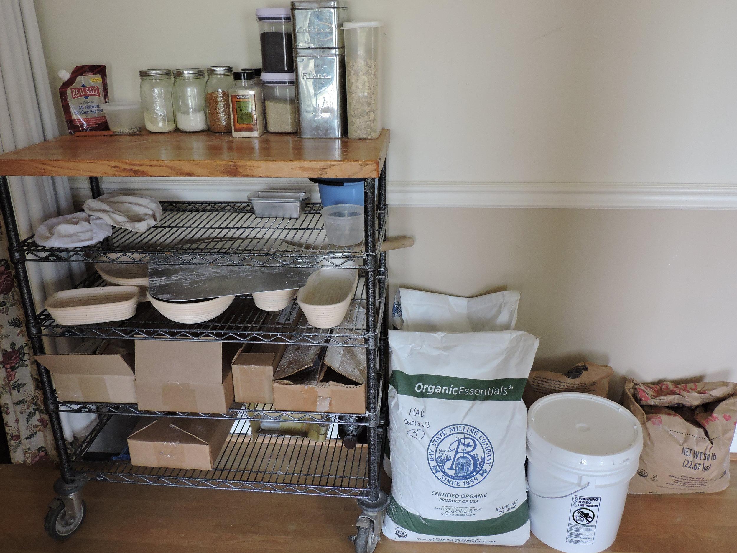 My baking supplies station