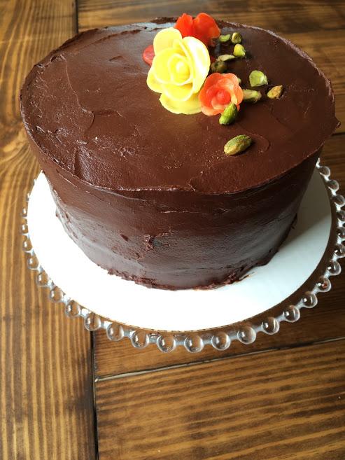 SK's pistachio petit fours cake