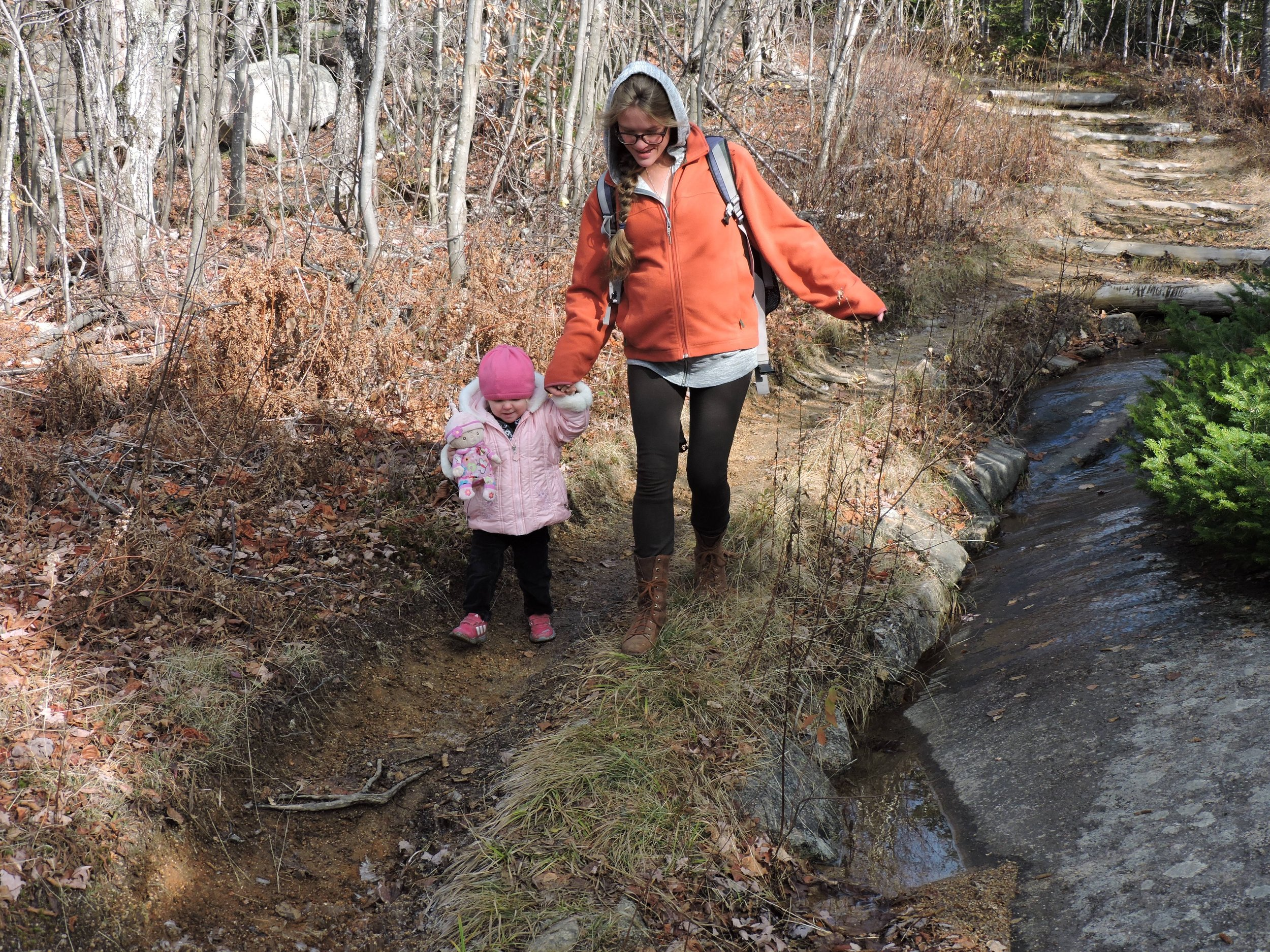 On our final hike of the trip: Black Cap Mountain. We indulged Edith's insistence that Baby come along too.
