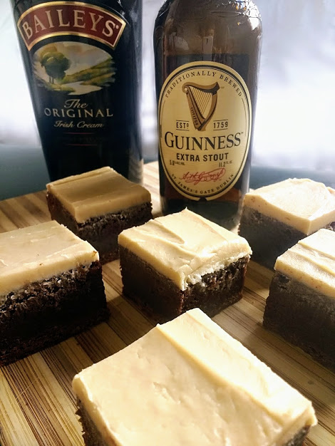 Beneath the Crust: Guinness Brownie Fudge with Bailey's Brown Butter Icing