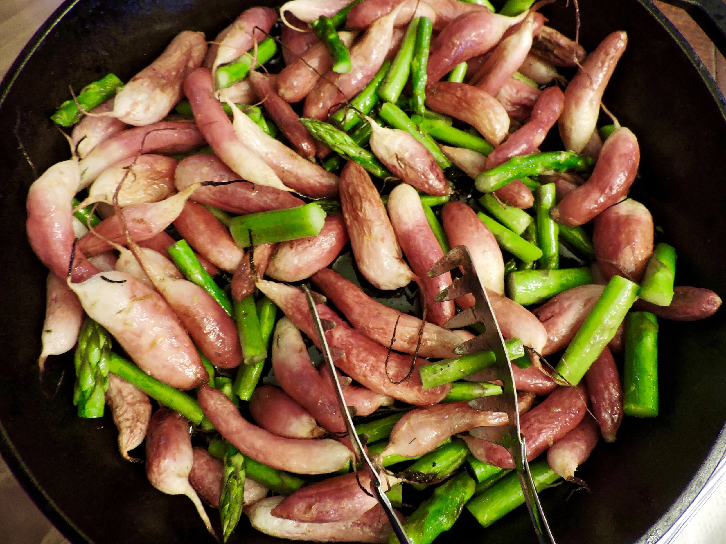 Roasted radishes & asparagus, tossed with some honey citrus vinaigrette (recipe below).