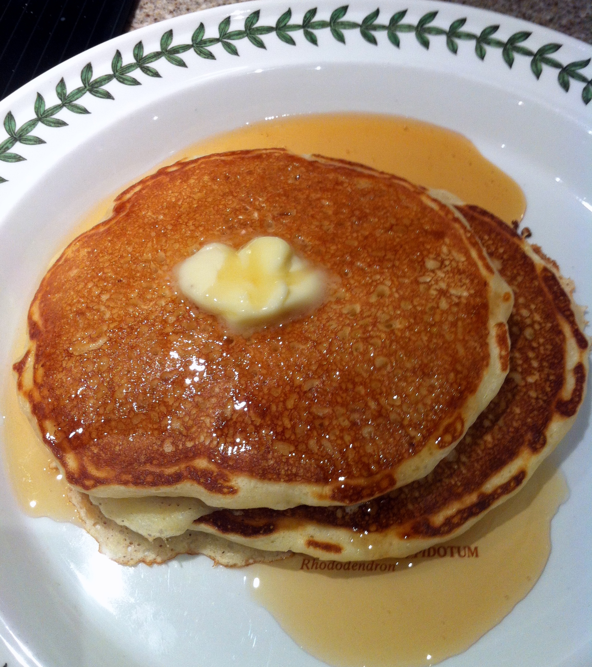 Dad's pancakes (Really, truly -- he made these ones.) 20 years certainly pays off. Look at that even color!