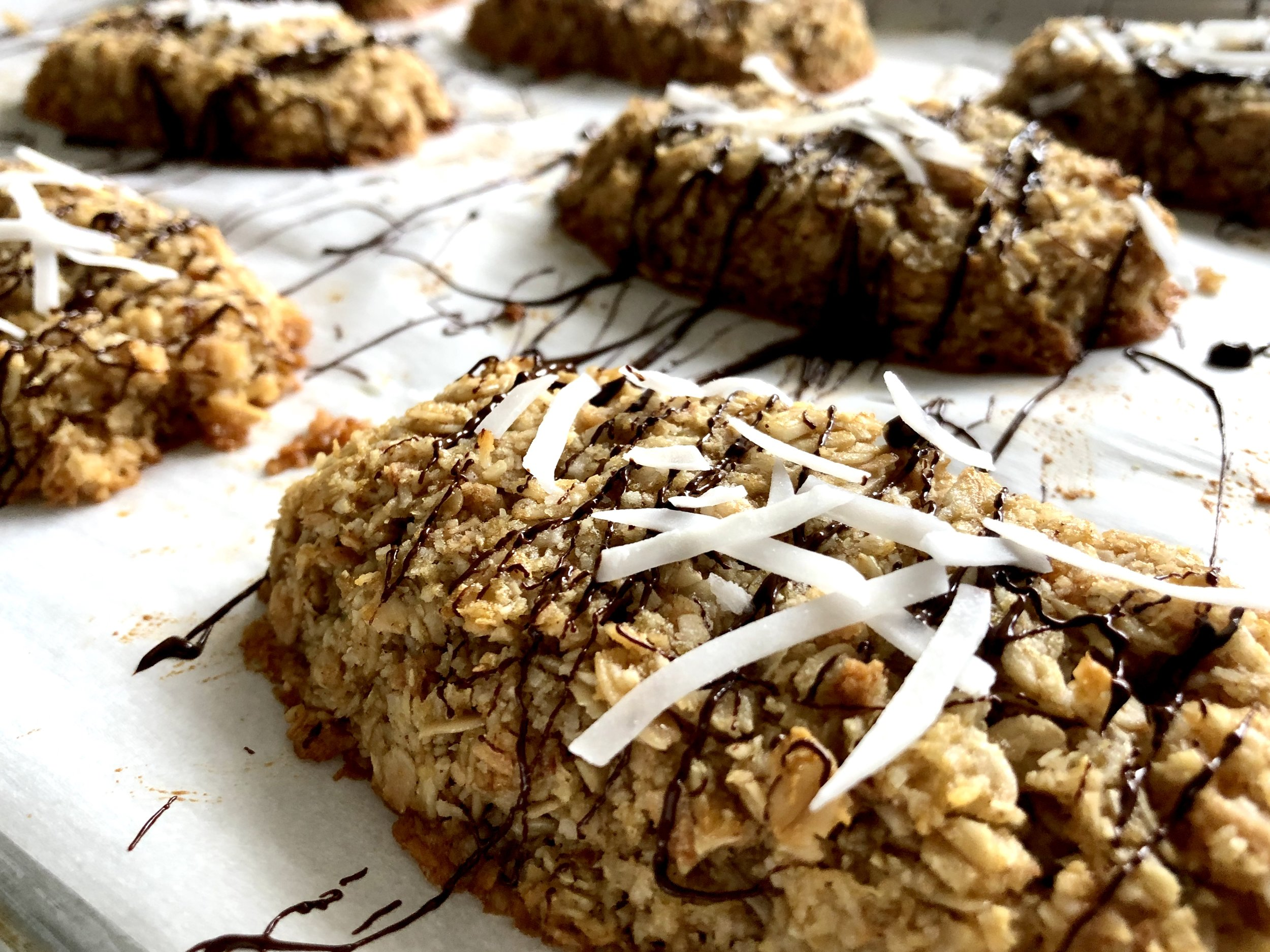 Honey toasted coconut breakfast bars with chocolate drizzle
