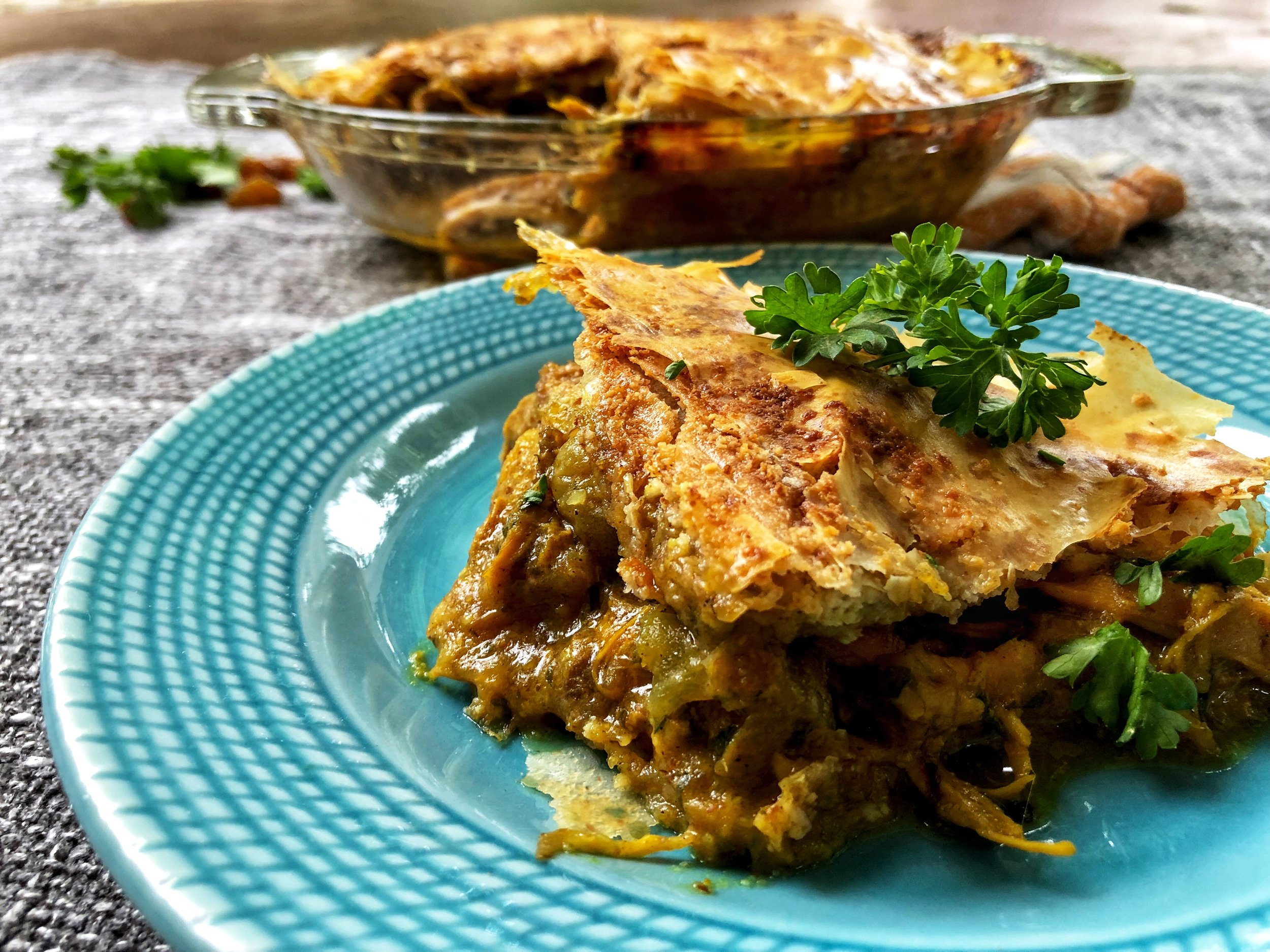 beneath the crust: moroccan chicken pie