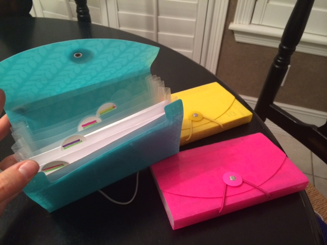 These handy dandy file holders are now used as the girls' budget category envelopes.