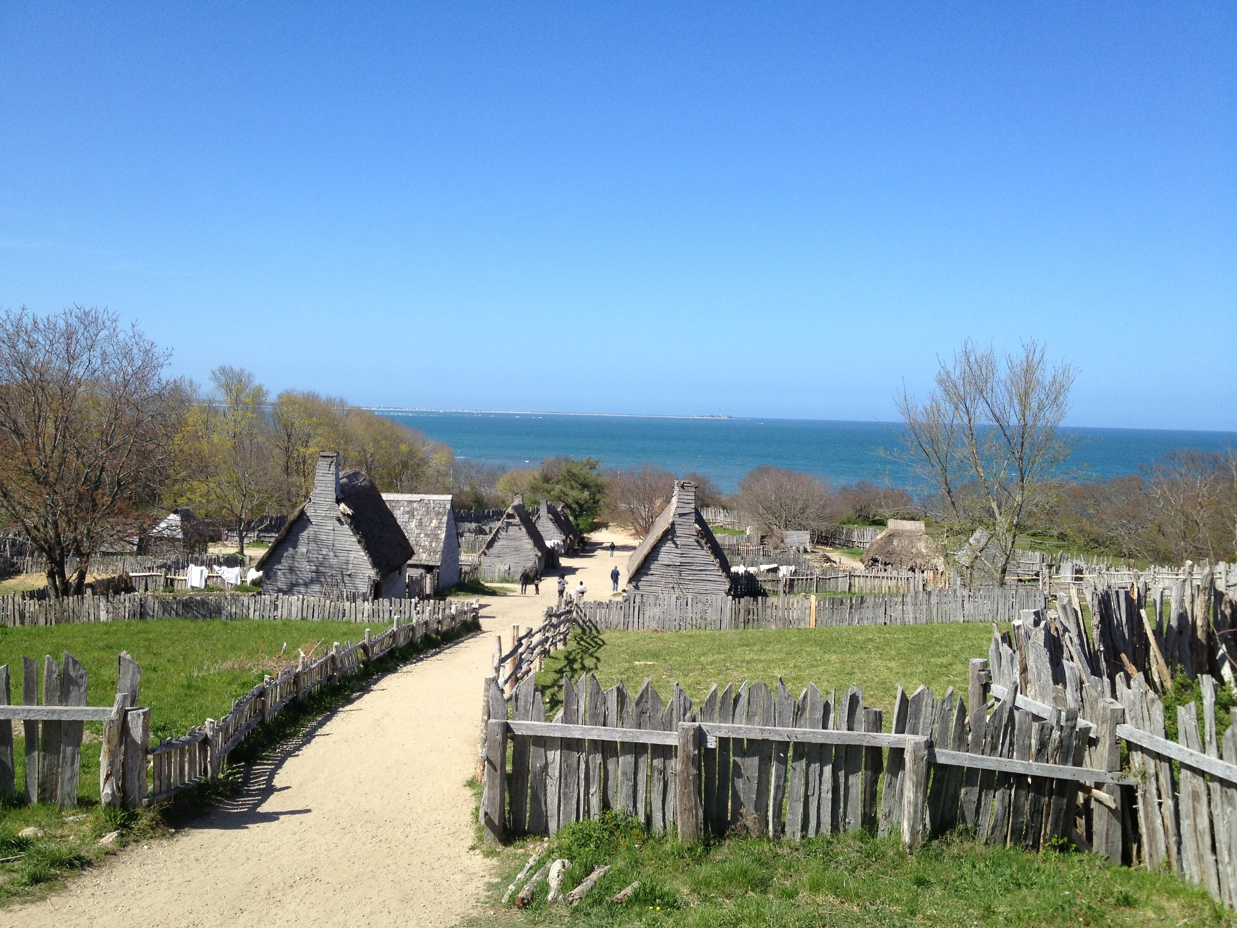 A view of the recreation of the first settlement, Plimouth Plantation.