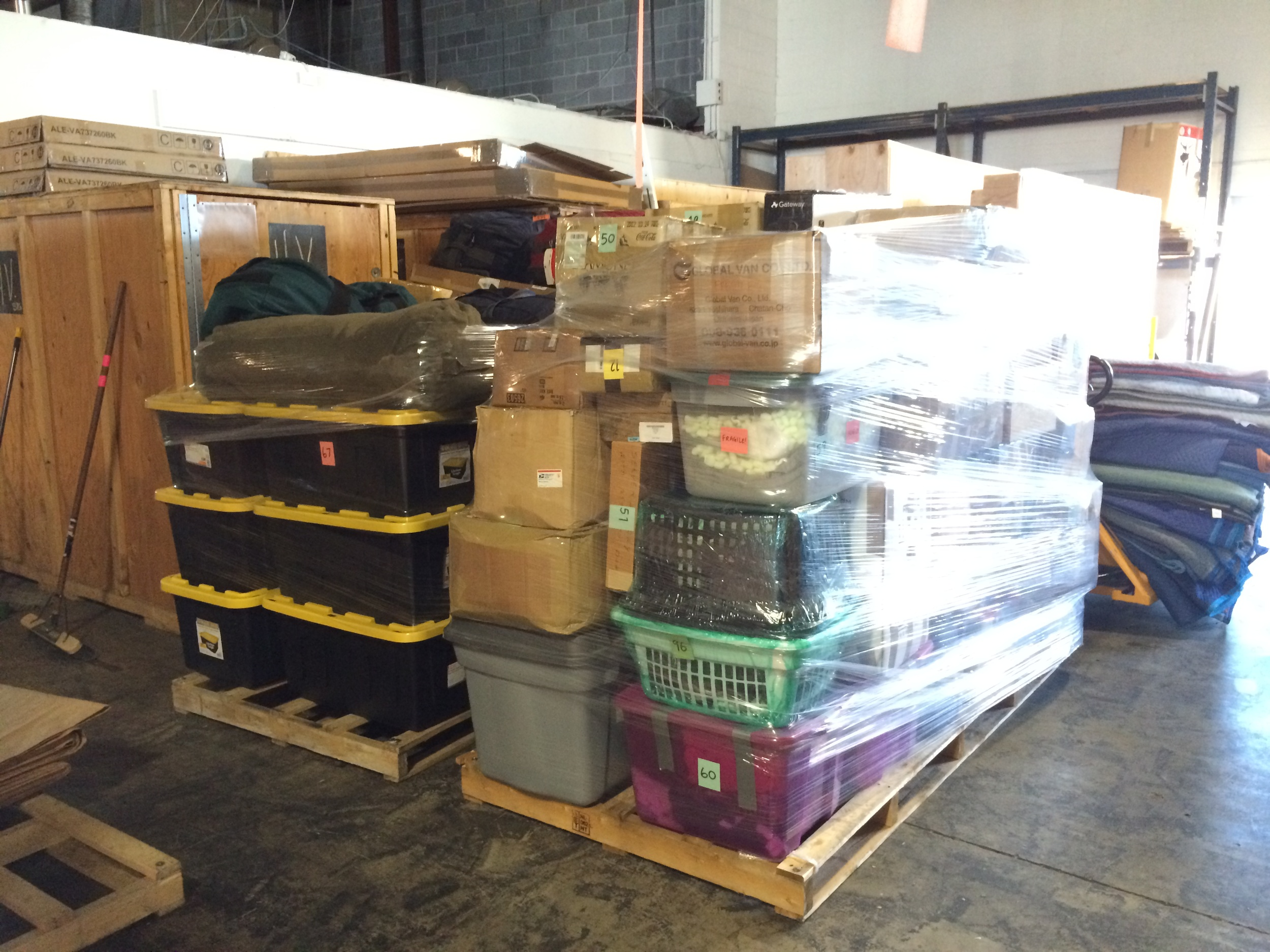 All 125 of our boxes fit onto two palettes.