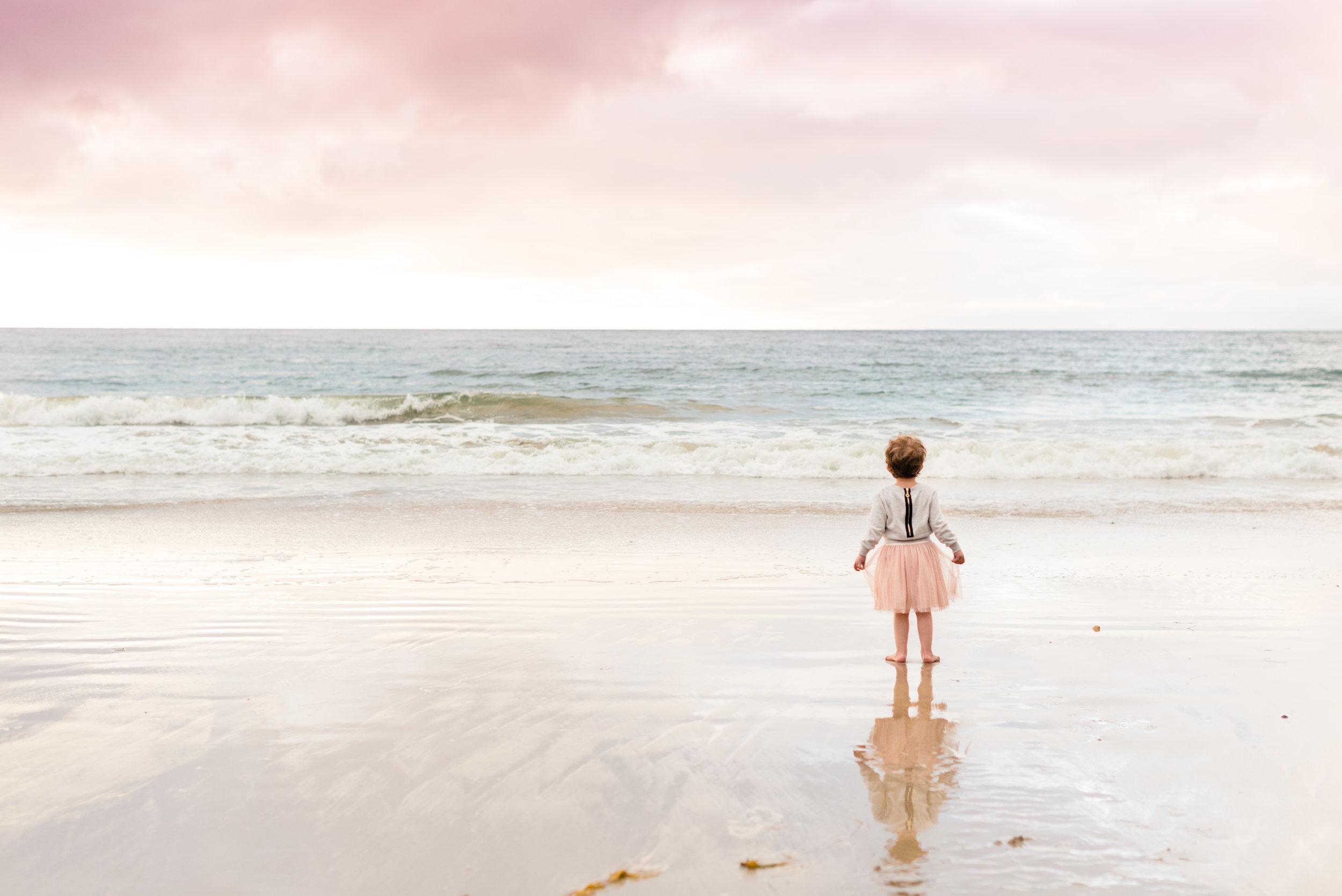 little girl gazing at sunset on the shore