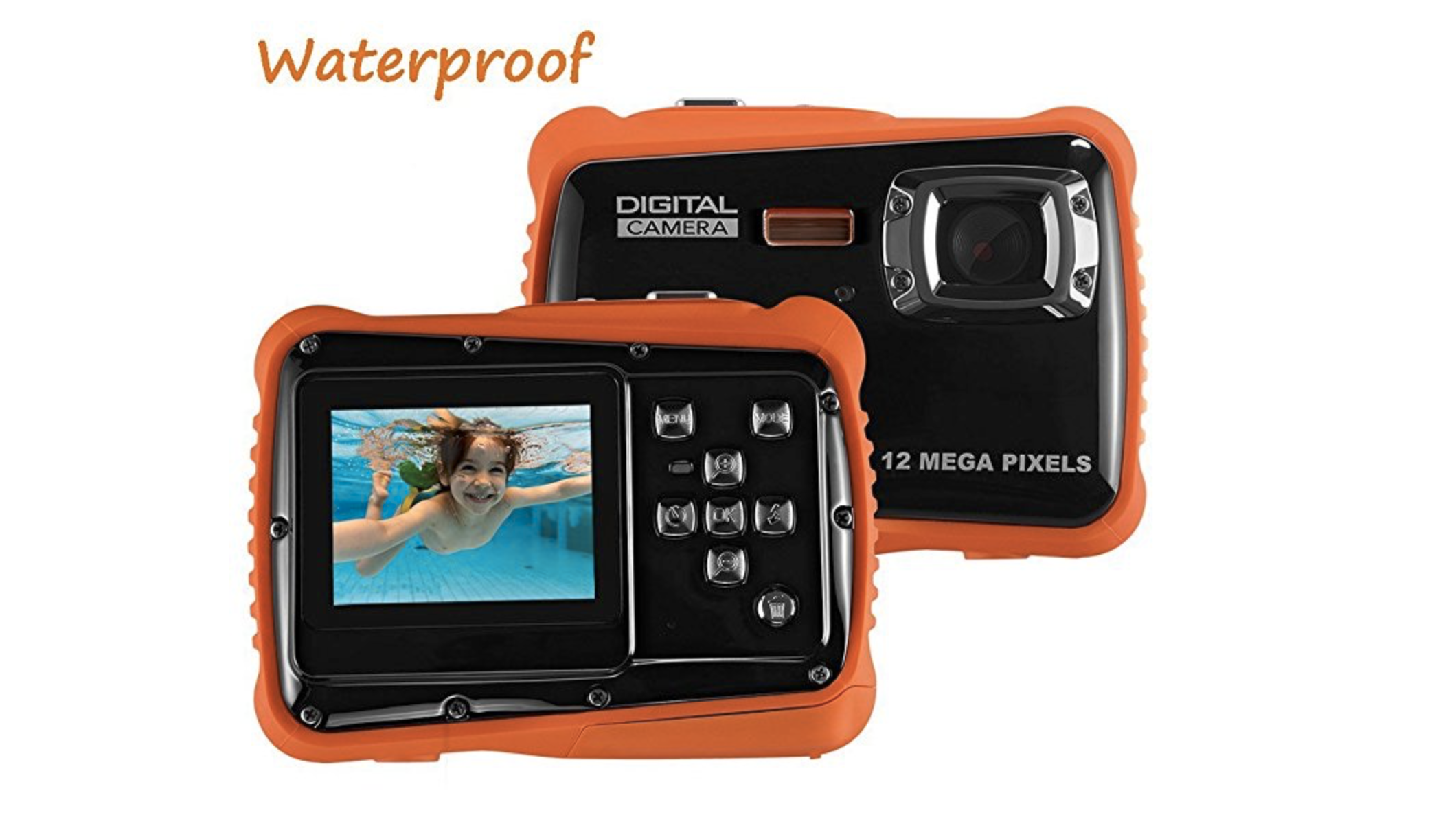waterproof kids camera orange