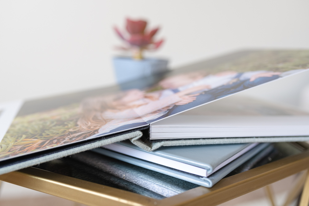 stack of family photo albums