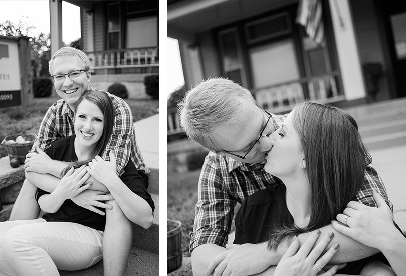 Fountain Square Indiana engagement portrait photographer couple sit on concrete steps kiss hug with apple basket.jpg