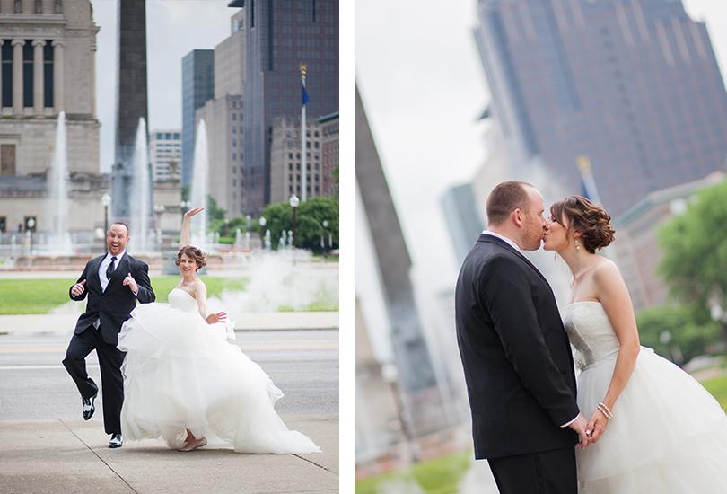 Downtown fun wedding couple