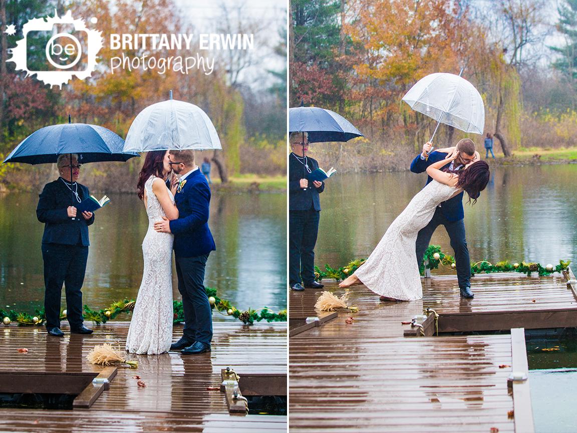 Indianapolis-elopement-photographer-raining-on-pond-dock-zombie-dip-kiss.jpg