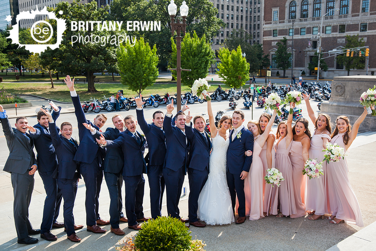 Indianapolis-fun-bridal-portrait-photographer-wedding-party-downtown-motorcycle.jpg