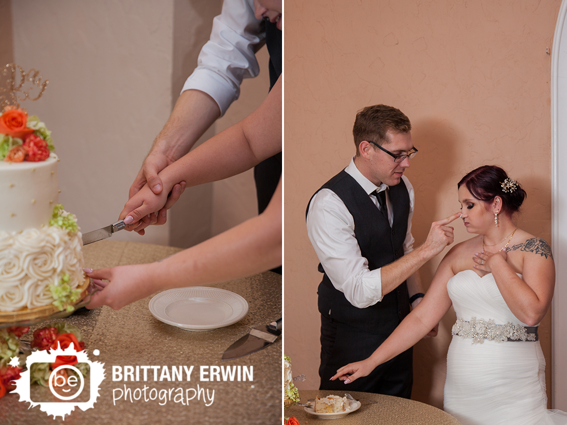 Indianapolis-wedding-reception-photographer-cake-cutting-nose-icing-Hillcrest-Country-Club.jpg