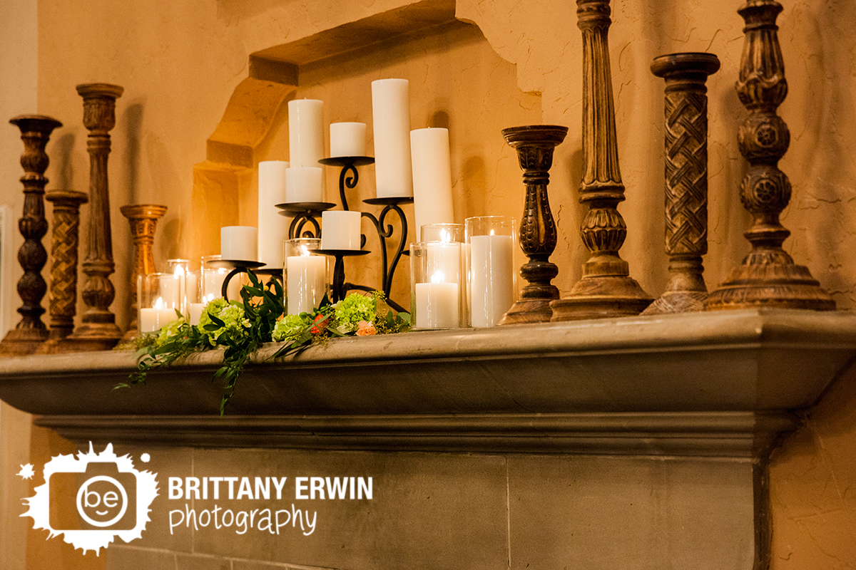 Indianapolis-wedding-photographer-candle-flower-display-on-fireplace-mantle-Hillcrest-Country-Club.jpg