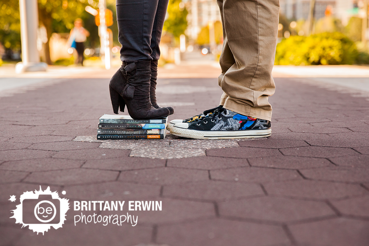 Fountain Square engagement photographer nerdy shoes
