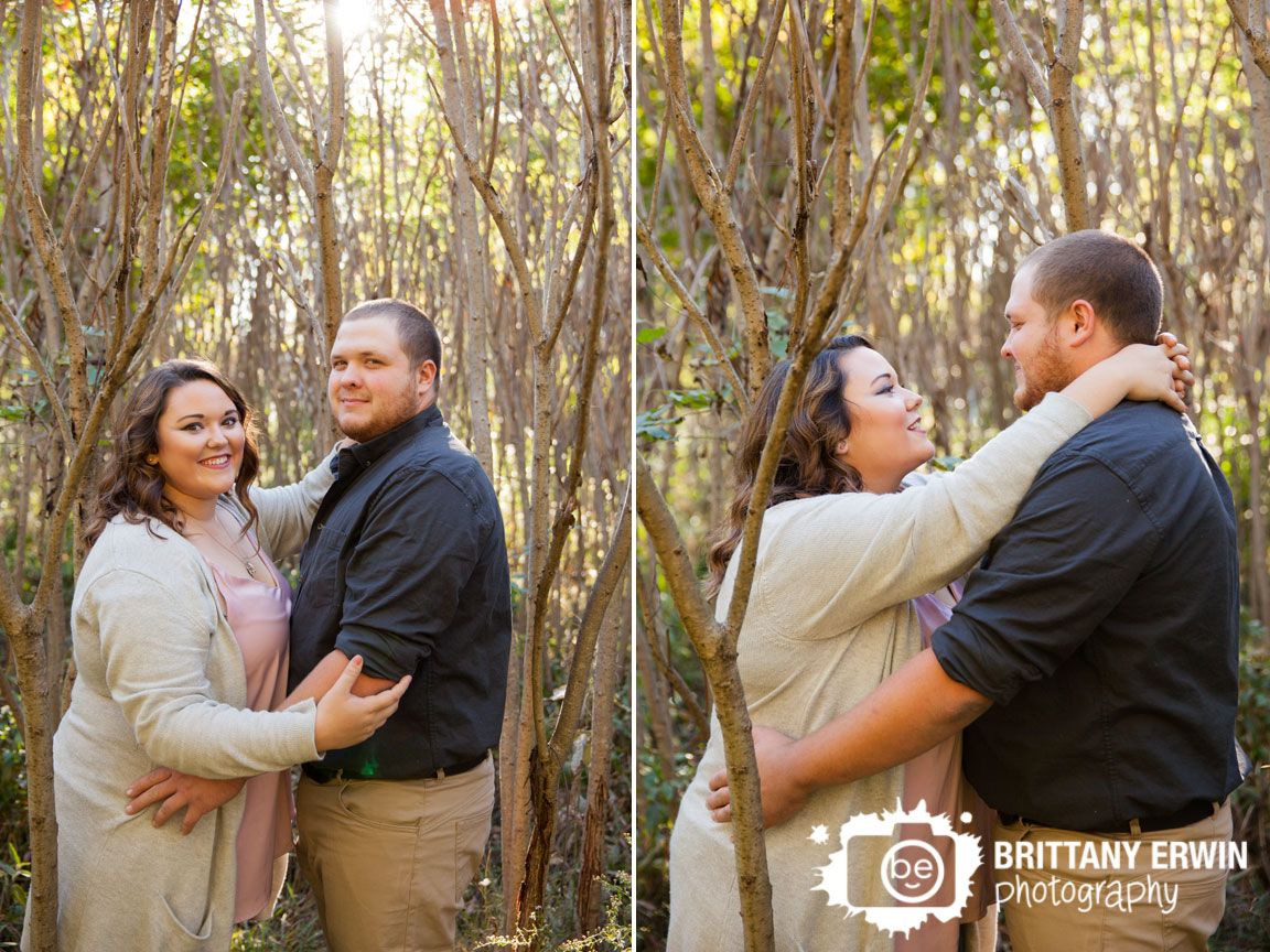 Camby Indiana engaged couple in Sumac field