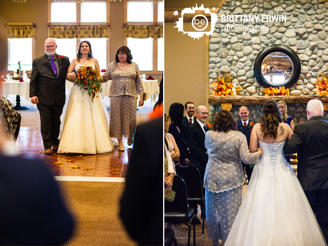 Purgatory-Golf-Club-indoor-wedding-ceremony-bride-walking-down-aisle-groom-reaction.jpg
