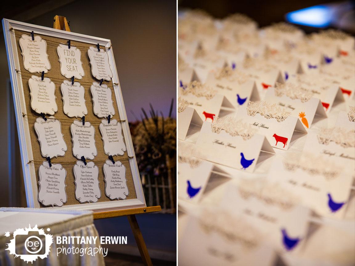 Purgatory-Golf-Club-wedding-photographer-reception-place-card-chicken-animal-sticker.jpg