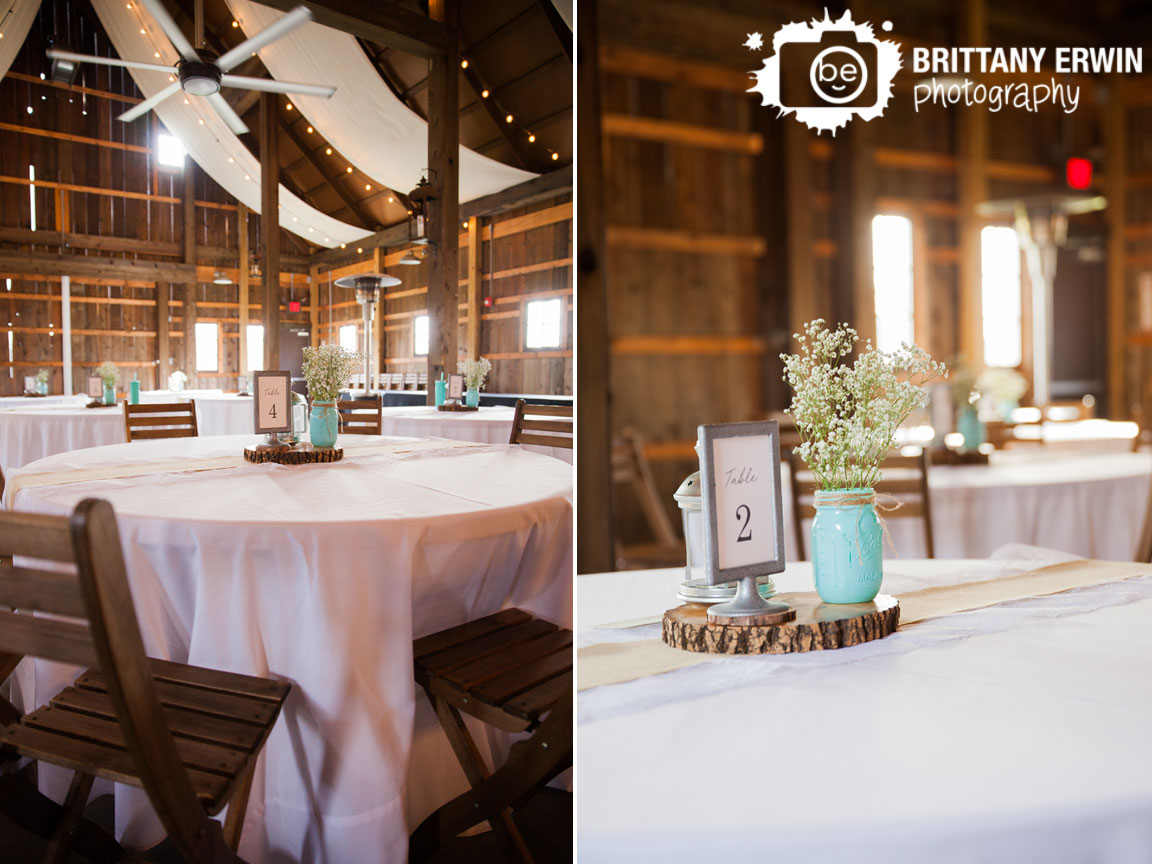 Barn-at-Kennedy-Farm-reception-photographer-table-setup-burlap-runner-wood-slice-painted-mason-jar.jpg