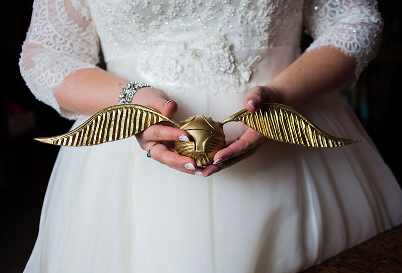 Golden snitch handmade ring box nerd wedding Harry Potter fan bride