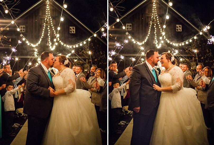 Barn at Kennedy Farm sparkler exit couple kiss