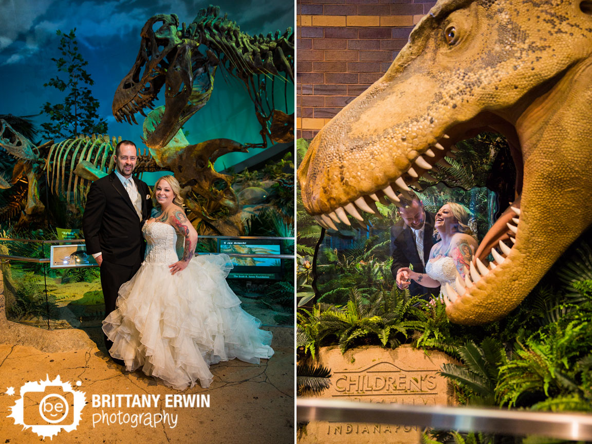 Indianapolis-childrens-museum-bridal-portrait-photographer-fun-wedding-couple-dinosaur-mouth.jpg
