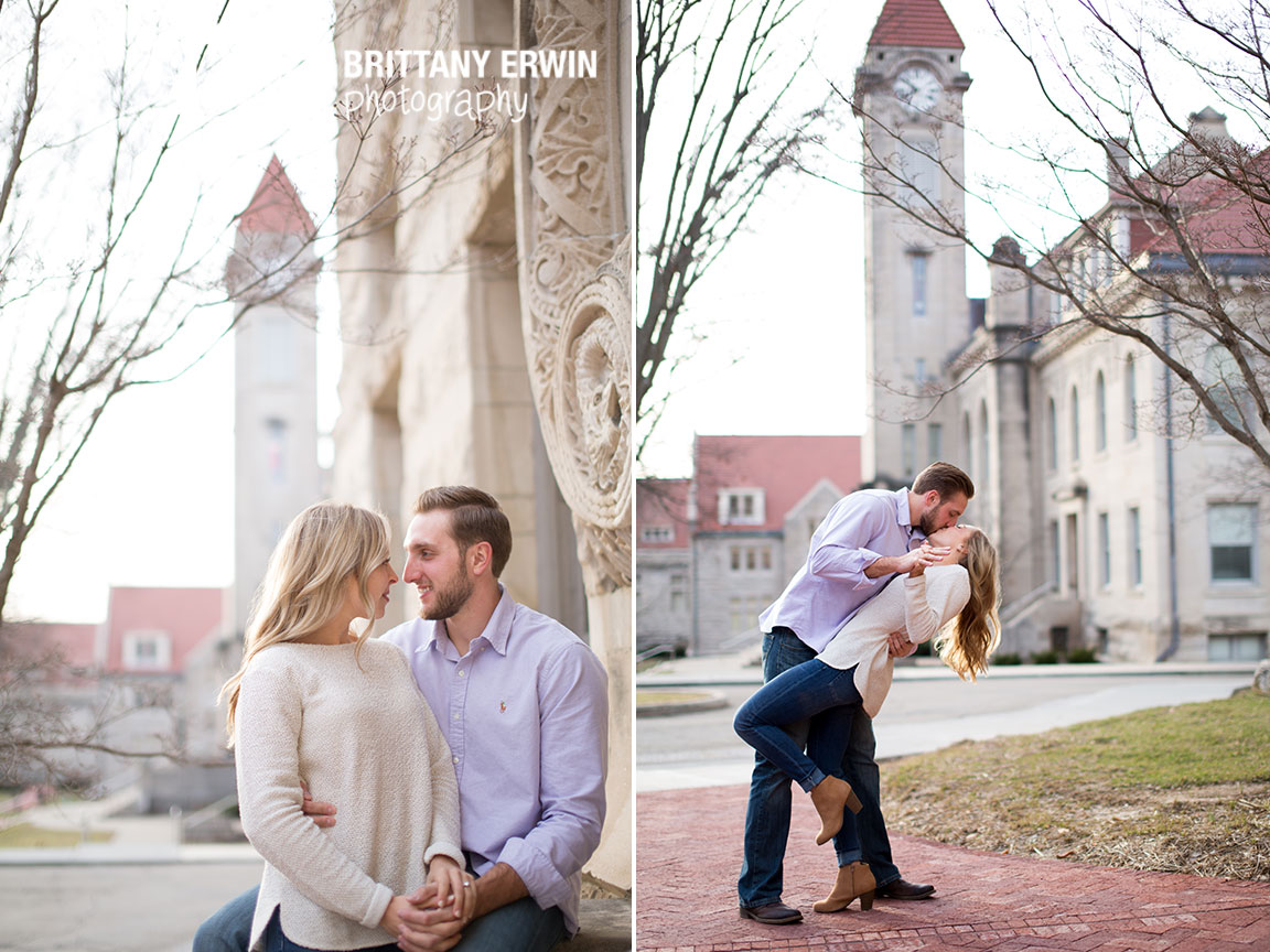 Bloomington-Indiana-clock-tower-campus-engagement-session-couple-dip-kiss.jpg