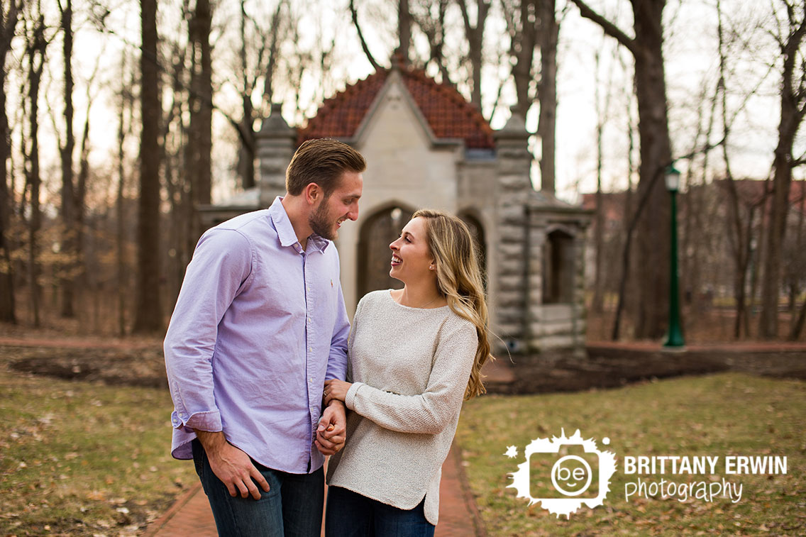 Bloomington-Indiana-University-engagement-couple-at-proposal-site-walk-down-path.jpg