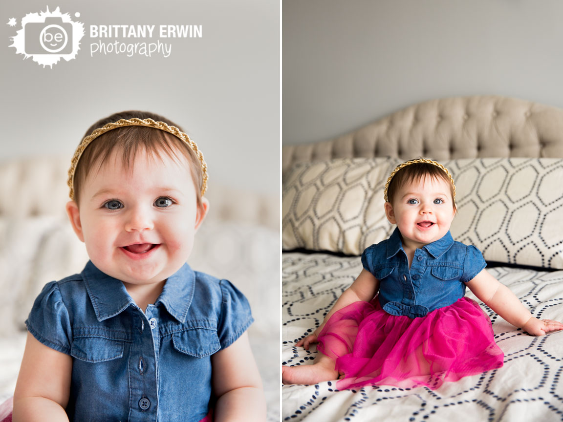 Indianapolis-lifestyle-portrait-photographer-baby-girl-gold-headband-on-bed-pink-tutu.jpg