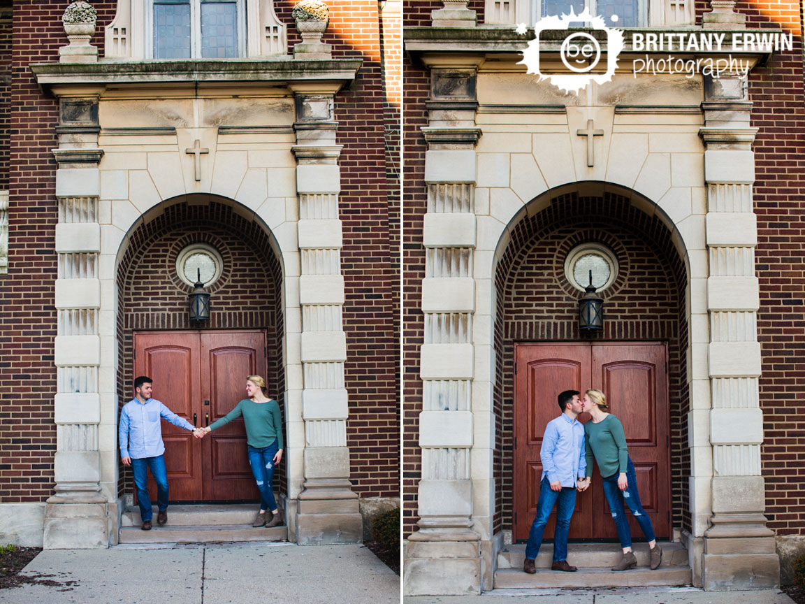 Fountain-Square-Indiana-church-engagement-portrait-photographer-couple-hold-hands-archway.jpg