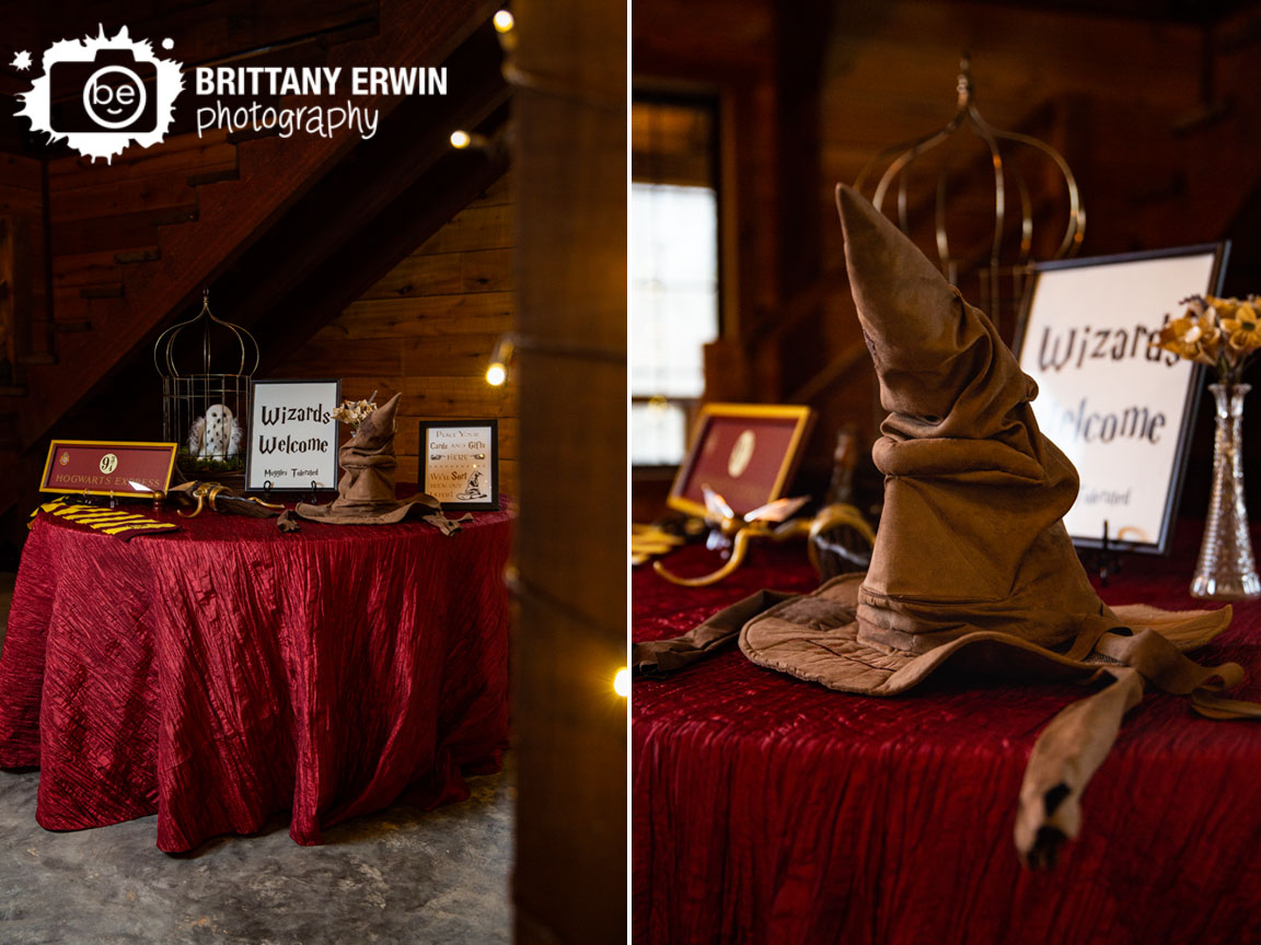 3-Fat-Labs-wedding-venue-wizards-welcome-sign-place-cards-and-gifts-sorting-hat-signs-welcome-table-owl-cage.jpg
