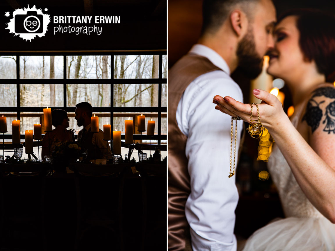 Harry-Potter-wedding-photographer-time-turner-couple-at-table-3-fat-labs-barn-venue-candles.jpg