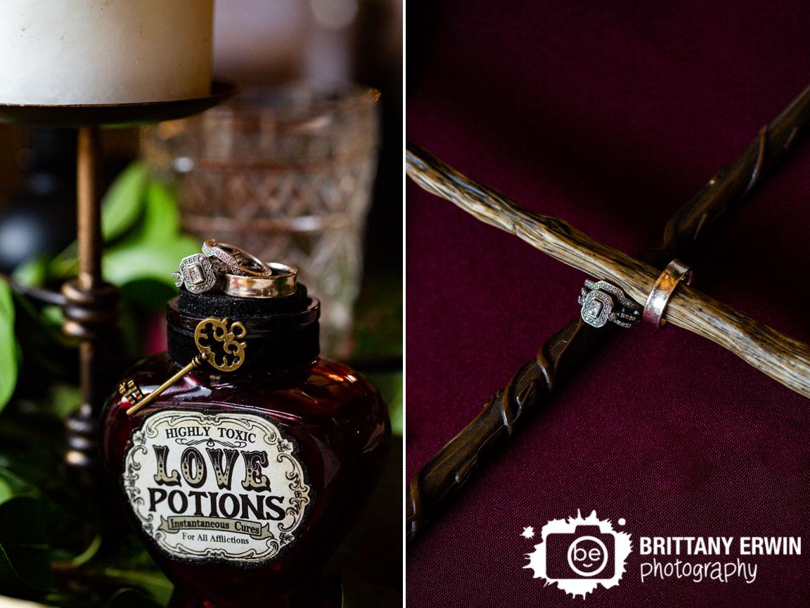 Nerdy-Fox-Rentals-wedding-table-setup-harry-potter-centerpiece-rings-on-love-potion-bottle.jpg