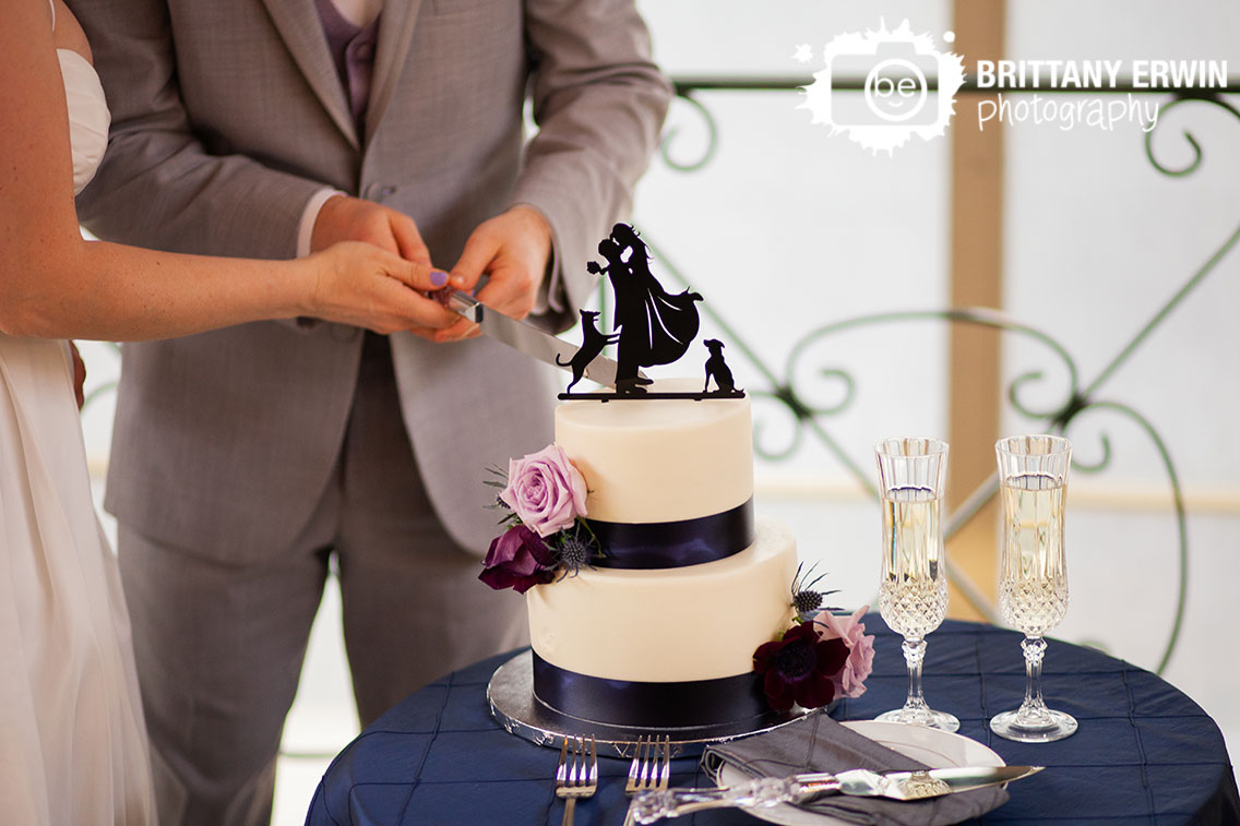 Downtown-Indianapolis-wedding-reception-photographer-city-market-cake-cutting-custom-topper-with-dogs-silhouette.jpg