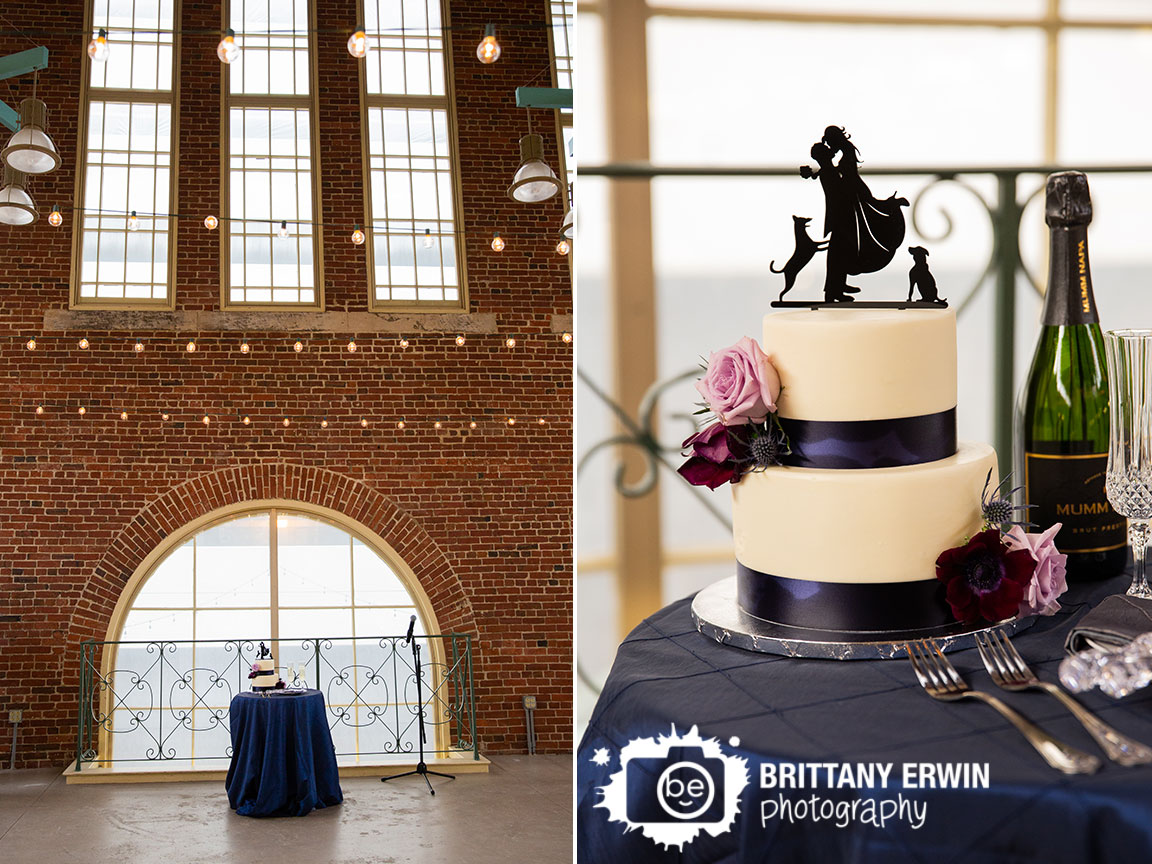 Downtown-Indianapolis-City-Market-wedding-reception-photographer-cake-window-silhouette-couple-dogs-topper.jpg