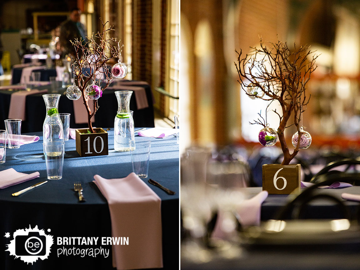 Downtown-Indianapolis-city-market-wedding-reception-photographer-table-number-on-centerpiece-tree-hanging-flower-window.jpg